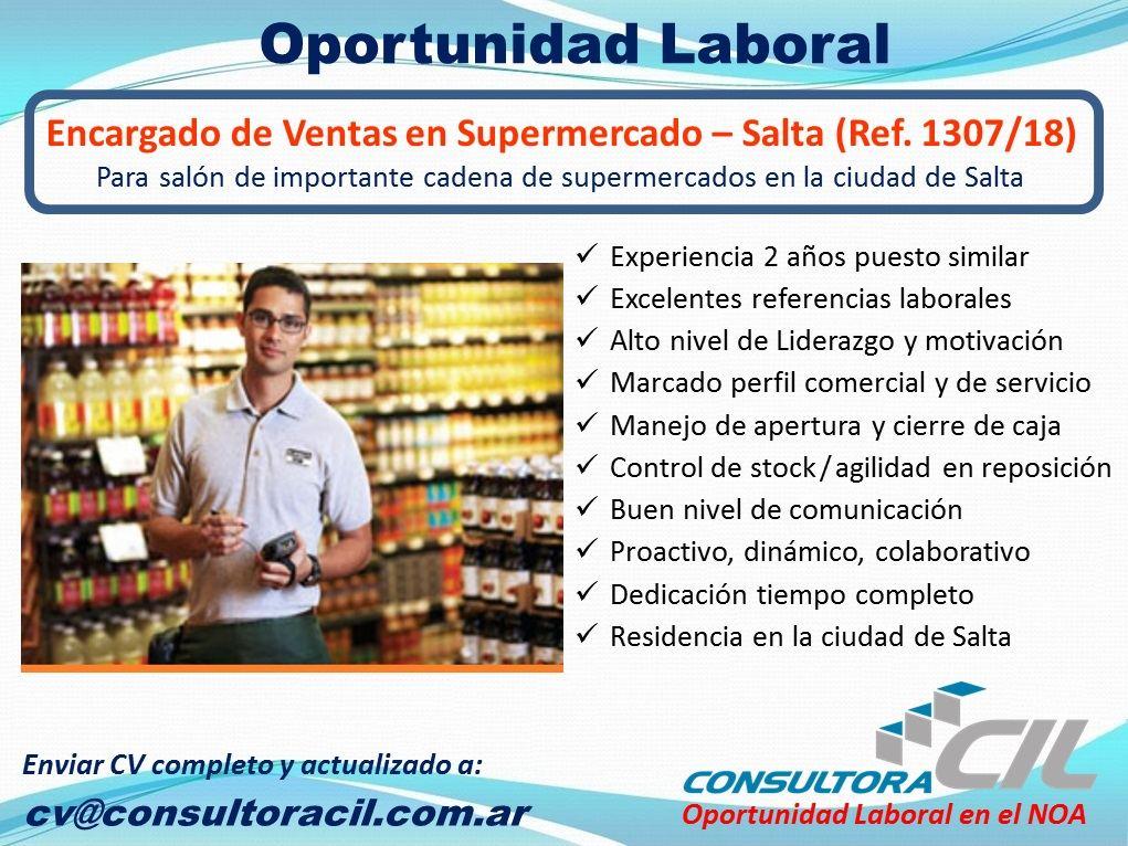 Encargado de Ventas Supermercado – Salta (Ref. 1307/18)