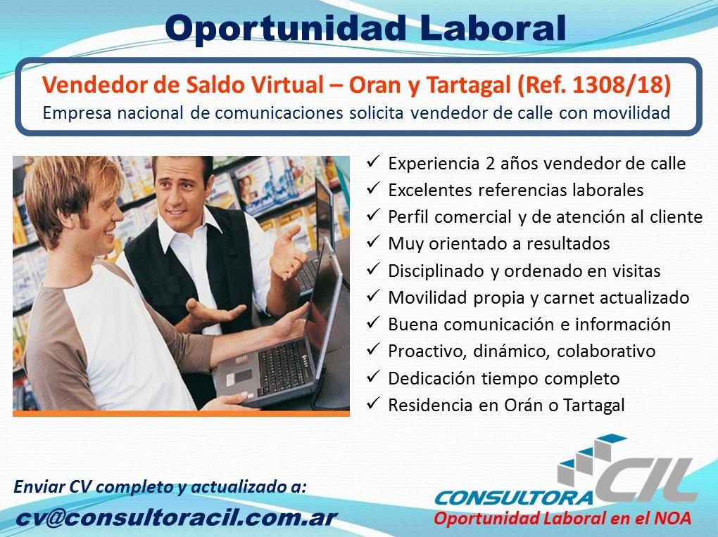 Vendedor de Saldo Virtual – Orán y Tartagal (Ref. 1308/18)
