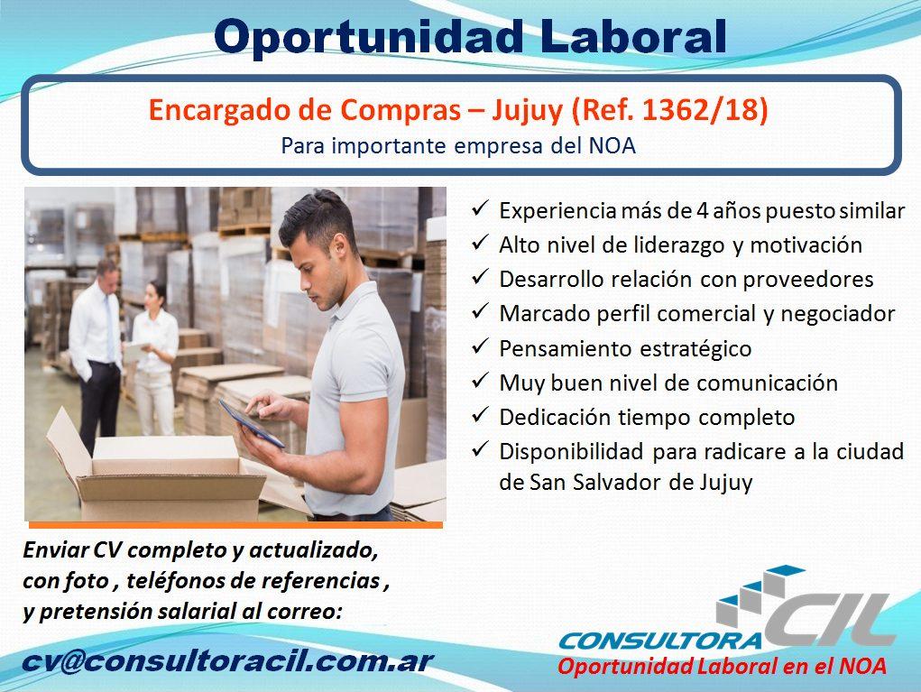 Encargado de Compras – Jujuy (Ref. 1362/18)