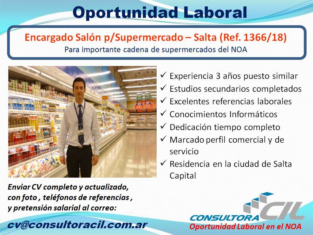 Encargado Salón p/Supermercado – Salta (Ref. 1366/18)